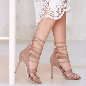 Nasty Gal Wrap Me Up Strappy Nude Suede Heels 6.5